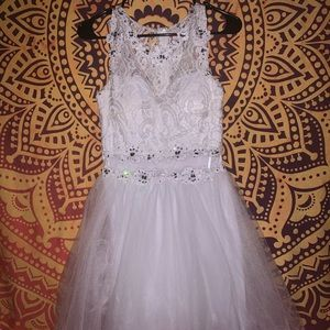 White lace beaded formal dress